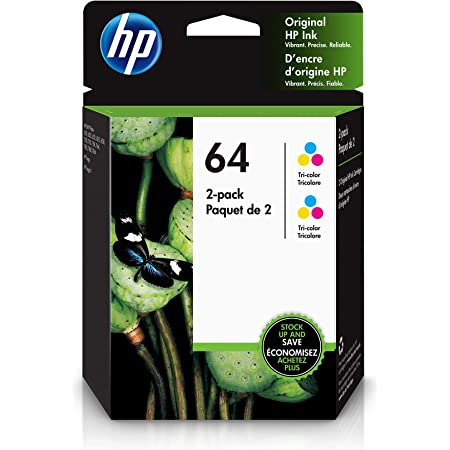 HP 64 | 2 Ink Cartridges | Tri-color | Works with HP ENVY Photo 6200 Series, 7100 Series, 7800 Series, HP Tango and HP Tango X | 6ZA55AN
