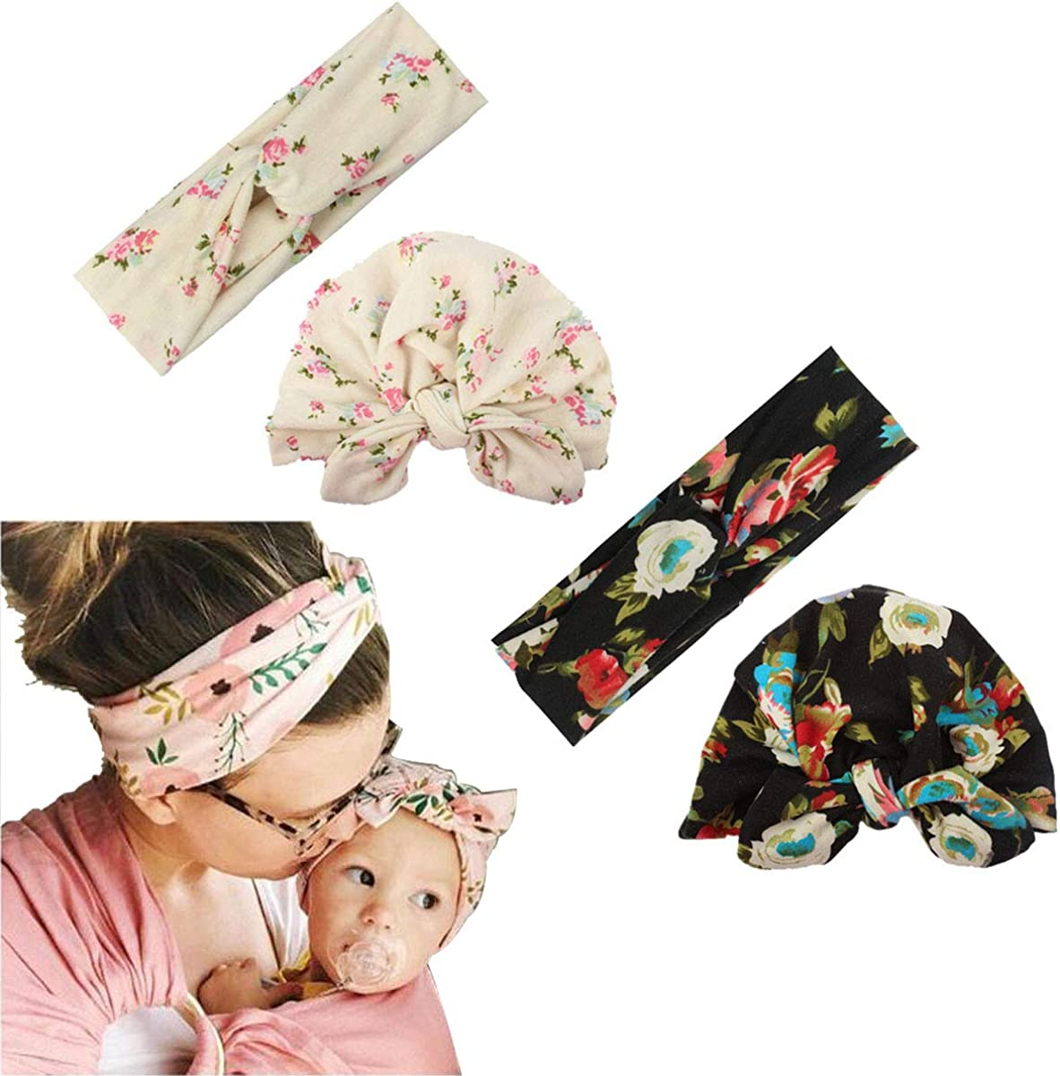 LERTREE 4PCS Mom and Baby Cute Flowers Hats Headband Mommy Hair Bands Child Beanie Hat Infant Head Caps