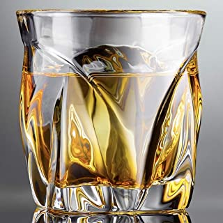 Aegis Whiskey Glasses, 10oz, Set of 2 - Lead-Free Titanium Infused Crystal Glasses - Perfect for Bourbon, Scotch, Rum, Cocktails and Liquor - Luxury Gift Box - Made in Europe with a Patented Design.