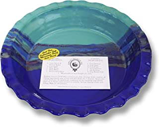 Clay In Motion Handmade Ceramic Deep Dish Pie Plate - Mystic Waters,Multicolor