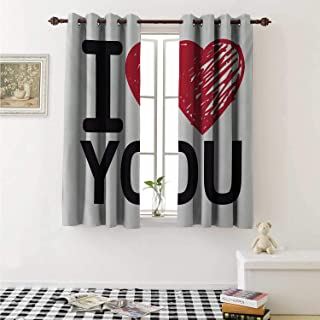 shenglv I Love You Drapes for Living Room Simplistic Valentines Calligraphy Wedding Relationship Illustration Curtains Kitchen Window W96 x L72 Inch Red Charcoal Grey