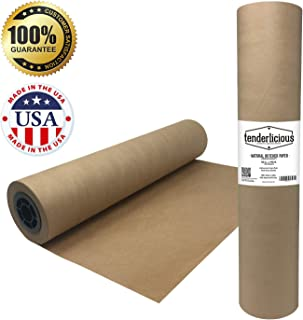 """Brown Butcher Kraft Paper Roll - 18 """" x 175' (2100"""") Food Wrapping Paper for Beef Briskets - USA Made - All Natural FDA Approved Food Grade BBQ Meat Smoking Paper - Unbleached Unwaxed Uncoated Sheet"""
