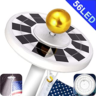 Yakalla 56 LED Solar Flag Pole Light Three-Grade Fifth Generation Adjustment IP67 Waterproof Lighting for Most 15 to 25 Ft Flagpole to Dusk to Dawn Auto On/Off Night