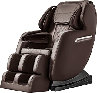 OOTORI Massage Chair Recliner, Zero Gravity Full Body Air Massage, 3-Row-Footroller, Roller Massage from Neck to Hip, with Stretch Heating Vibrating Function,w/Bluetooth (Brown)