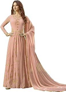 Fashion Basket Womens Faux Georgette Anarkali Embroidered Semi Stitched Salwar suit