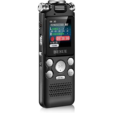 1536kbps 1120 Hours Sound Audio Activated Recorder Dictaphone Voice Recording Device with Playback,MP3 Player,Password,Variable Speed,TF Card Expansion 16GB Digital Voice Recorder for Lectures