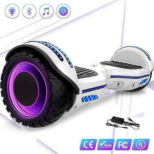 Mega Motion Hoverboard Self Balance Scooter 6.5 E-Star,Scooter électrique Self Balance,Roues LED RGB,Tente LED,Haut-parleur Bluetooth, Moteur 700W,Gyropod Modèle