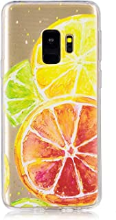 Clear Case for Samsung Galaxy S9,Aoucase Ultra Thin Art Pattern Soft TPU Rubber Shockproof Non-Slip Back Case with Black Dual-use Stylus,Fresh Lemon
