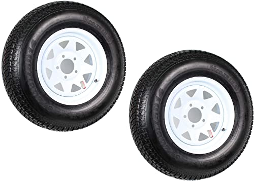2-Pack Trailer Tire On Rim ST205/75D14 205/75 D 14 in. LRC 5 Hole White Spoke