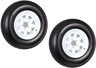 Two Trailer Tires Rims ST205/75D14 2057514 F78-14 14 in. LRC 5 Lug White Spoke