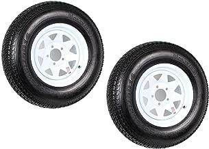 2-Pack Trailer Tire On Rim ST205/75D14 205/75 D 14 in. LRC 5 Hole White Spoke