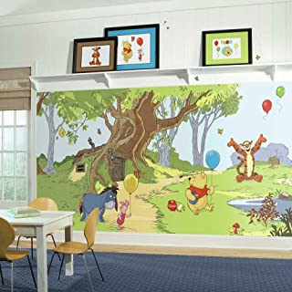 RoomMates JL1220M Pooh & Friends Water Activated Removable Wallpaper Mural - 10.5 ft. x 6 ft.