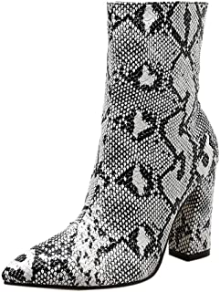 DENER❤️ Women Ladies Mid Calf Boots with Block Heels,Snakeskin Leather Waterproof Wide Calf Hiking Cowboy Boots Booties Shoes