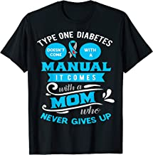 Juvenile Diabetes Mom Shirt Type 1 Never Gives Up Blue Gray