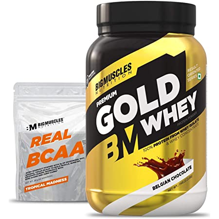 Bigmuscles Nutrition Premium Gold Whey 1Kg [Belgian Chocolate] |Whey Protein Isolate & Whey Protein Concentrate, 25g Protein Per Serving, 0g Sugar, 5.5g BCAA