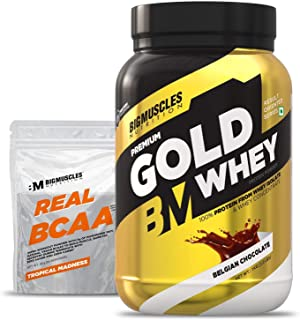 Bigmuscles Nutrition Premium Gold Whey 1Kg [Belgian Chocolate]  Whey Protein Isolate & Whey Protein Concentrate, 25g Prote...
