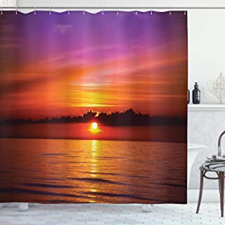 Ambesonne Ocean Shower Curtain, Romantic Sunset on The Beach Sun Rays Reflection on the Sea Colorful Sky Picture, Cloth Fabric Bathroom Decor Set with Hooks, 70 Inches, Orange Purple