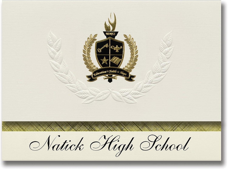 Signature Ankündigungen NATICK High School (NATICK, MA) Graduation Ankündigungen, Presidential Stil, Basic Paket 25 Stück mit Gold & Schwarz Metallic Folie Dichtung B0794SN9ZV | Ausgezeichnetes Handwerk