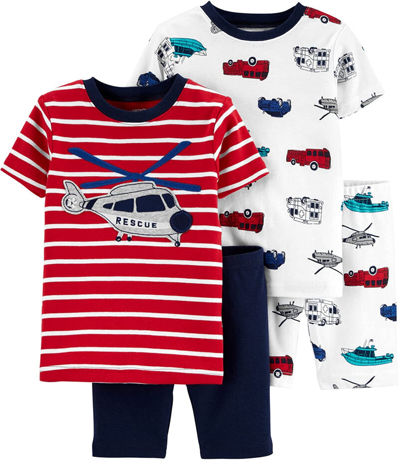 Carter's 4-Piece Toddler and Baby Boy's Sung fit Cotton Pajamas (Helicopter, 2t)