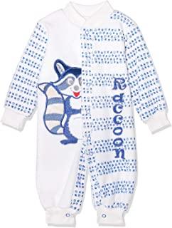 Baby Cadeau Cotton Velvet Snap Closure Two Tone Stitched Squirrel Long Sleeves Jumpsuit for Kids - Off White & Blue, 0 - 3...