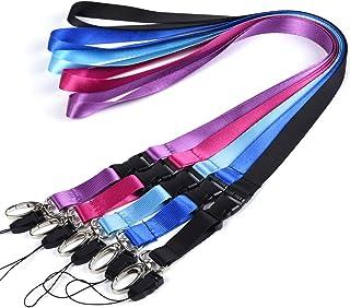 Lot de 5 cordons à accrocher autour du cou en polyester 22,5 cm avec fermoir ovale et boucle amovible pour clés, porte-clé...
