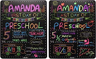 "Personalized First Day and Last Day of School Sign 13"" x 16"" Large Chalkboard Style Photo Prop Back to School Supplies - 2..."