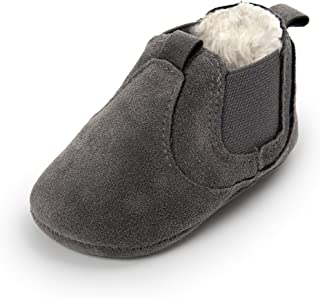 QGAKAGO Infant Baby Suede Cotton Boots Chelsea Ankle Winter Warm Soft Sole Anti-Slip Shoes