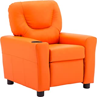 MCombo Kids Recliner Chair Armrest Sofa Couch with Cup Holder for Toddlers Boys Girls, Faux Leather 7240 (Orange)
