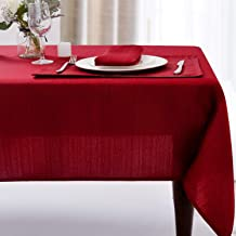 Christmas Luxury Stripe Fabric Table Cloths, Heavy Weight 100% Polyester Tablecloths Washable, No Iron, Water Resistance S...
