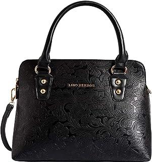 Lino Perros Women's Artificial Leather Satchel (Black)
