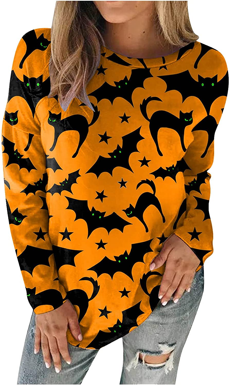 Xinantime Women's Halloween Printed Sweatshirts Casual Round Neck Tops Ladies Long Sleeve Loose Blouse Shirts