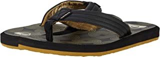 Quiksilver Men's Carver Print Sandal Flip-Flop, BLACK/BLACK/BROWN, 6 M US