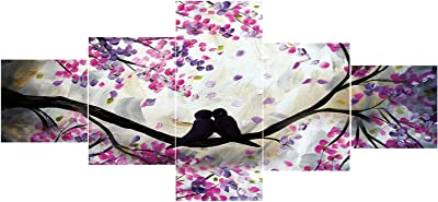 eCraftIndia Set of 5 Kissing Love Birds on Tree Branch Premium Sunboard Panels Painting