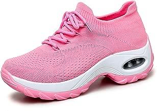 Ezkrwxn Women Athletic Walking Shoes Sock Fashion Sneakers Flyknit Breathable Comfort Slip on Sports Trail Running Shoes