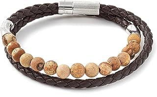 Tateossian Mens Havana Silver Bracelet Italian Braided Leather