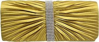 Wiwsi Women Pleated Satin Diamante Clutch Purse Evening Gems Elegant Chain Bags