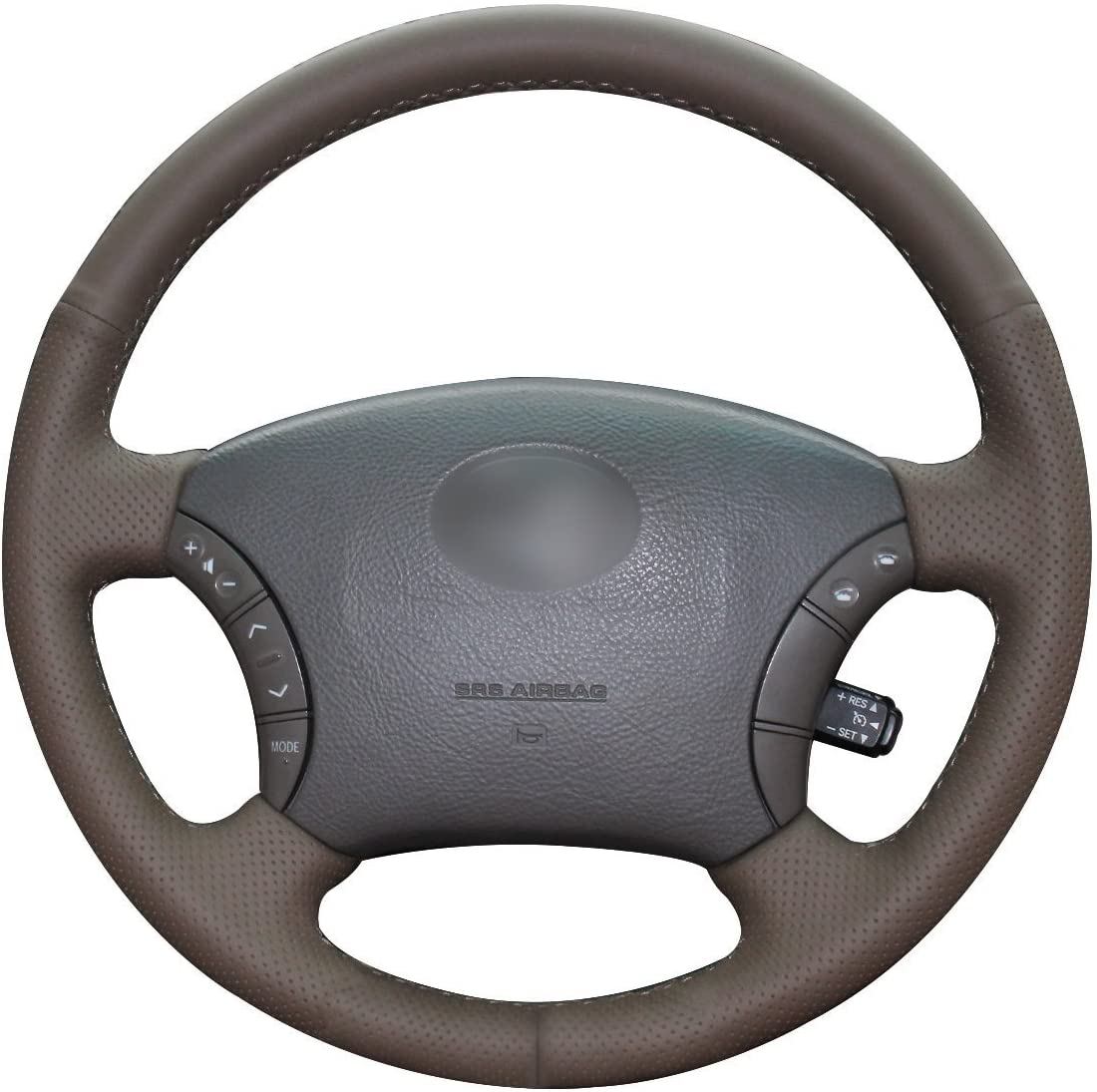 Loncky Dark Brown Atlanta Mall Genuine price Leather Custom Fit Steering Auto Wheel