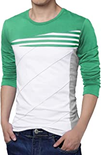uxcell Men Color Block Striped Panel Round Neck Long Sleeve Pullover T-Shirt