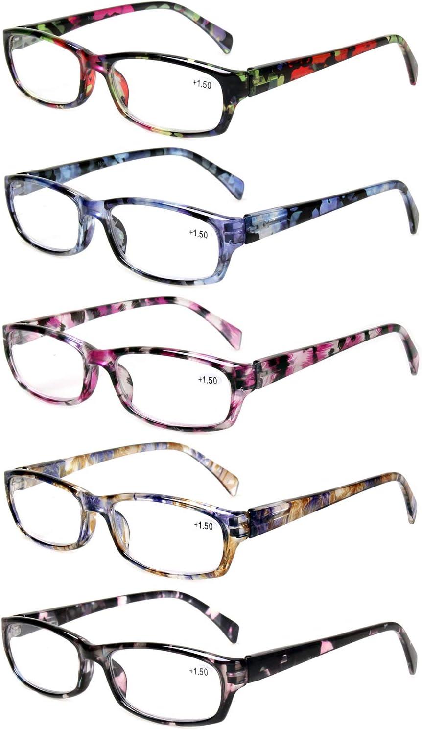 20 Pack Reading Glasses Women Spring Hinge Pattern Design Glasses for  Reading +20.20, 20 Pack Mix Color