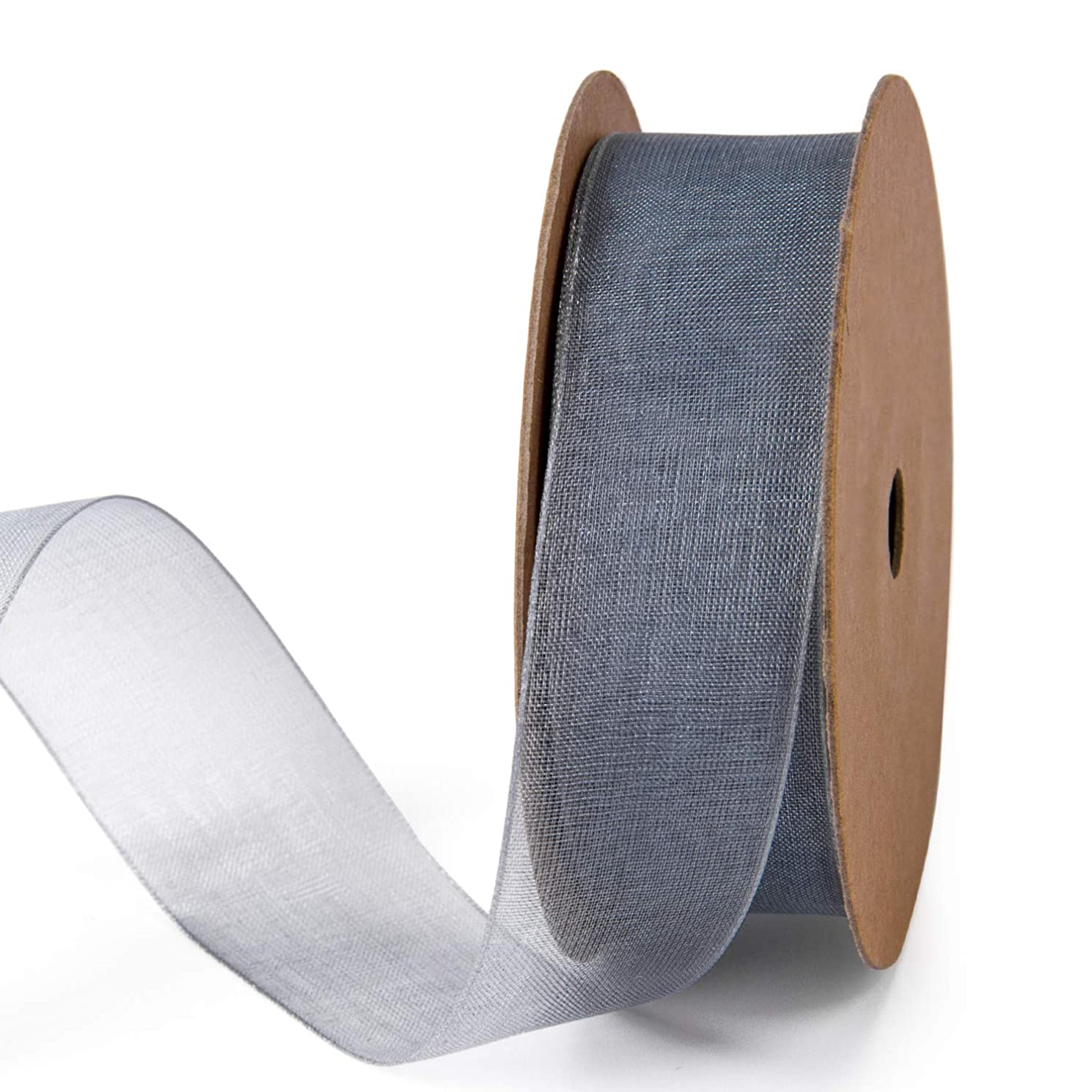 LaRibbons 1 Inch Sheer Organza Ribbon - 25 Yards for Gift Wrappping, Bouquet Wrapping, Decoration, Craft - Grey