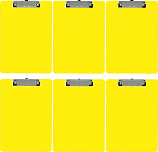 Trade Quest Plastic Clipboard Opaque Color Letter Size Low Profile Clip (Pack of 6) (Yellow)