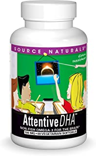 Source Naturals Attentive DHA 100mg Kids Fish-Free, Pure Omega-3 Supplement - 60 Softgels