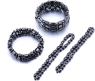 VIKI LYNN 2 Sets of Hematite Metal Megnetic Therapy Bracelets+2 Pcs of Magnetic Anklets Good for Health