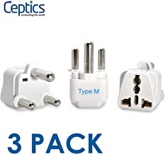 Ceptics South Africa Travel Plug Adapter (Type M) - 3 Pack [Grounded & Universal] (GP-10L-3PK)