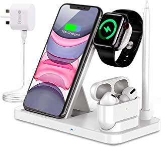 Innoo Tech Wireless Charger, 4 in 1 Wireless Charger for Apple Watch & AirPods & Pencil Charging Dock Station, Compatible ...
