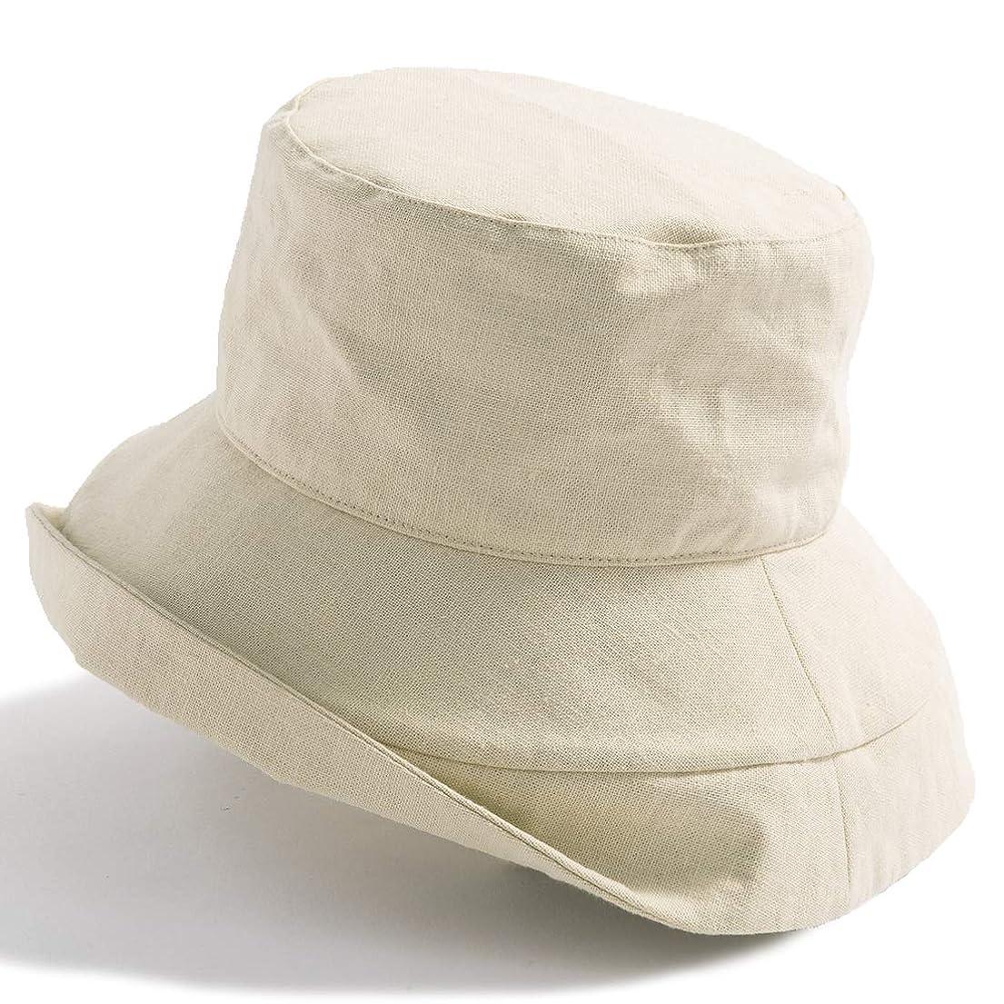 管理まとめる唯物論クイーンヘッド 小顔 UVカット 帽子 麻綿ブリムUVハット レディース ハット 大きいサイズ つば広 紫外線カット 女優帽