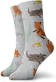 wwoman, Calcetines de vestir estampados para hombres y mujeres Nutrias marrones con peces Calcetines coloridos divertidos y divertidos de la novedad 30 cm