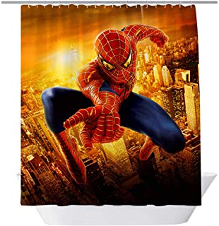 BT World Spiderman Shower Curtains, Cool Super Hero for Bathroom,Polyester Fabric Shower Curtain Sets with Hooks, 71X 71 in (Spiderman)