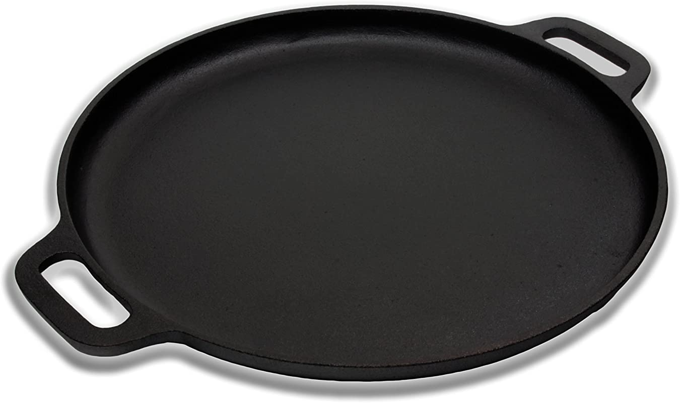 Premium Quality Cast Iron Pizza Pan By A1 Chef Pre Seasoned Round Oven Griddle Grill 14 Diameter Suitable For All Kinds Of Ovens Heats Bakes Evenly