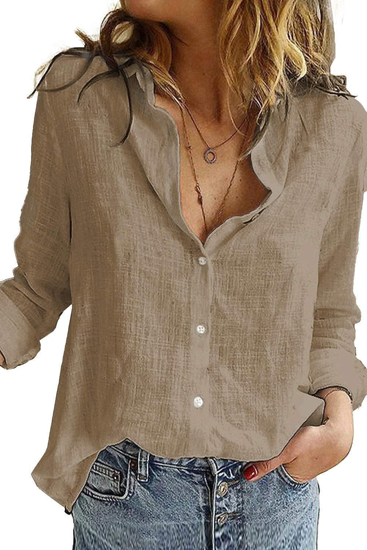 Uusollecy Women's V Neck Button Shirts, Casual Long Sleeve Blouses, Roll Up Polo Shirt Tunic Tops for Women Teen Girls Coffee Medium
